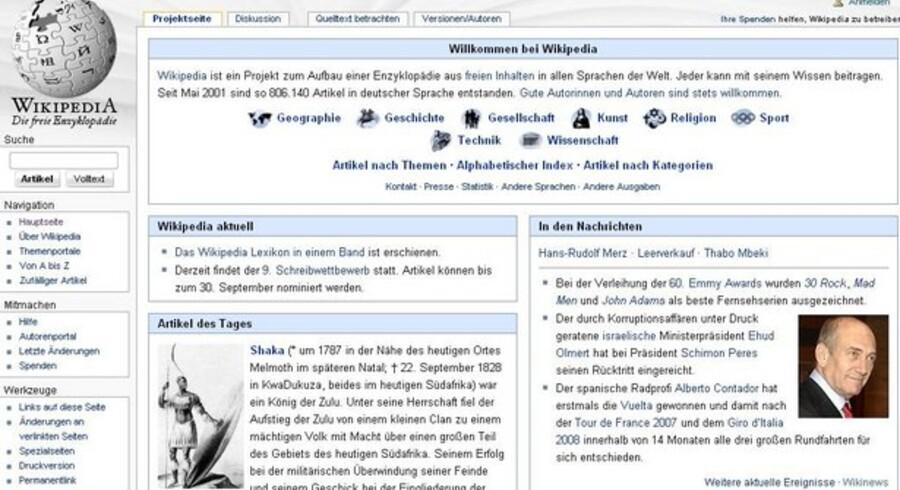 Sådan ser den tyske udgave af Wikipedia ud på nettet. Nu er den udkommet i bogform.