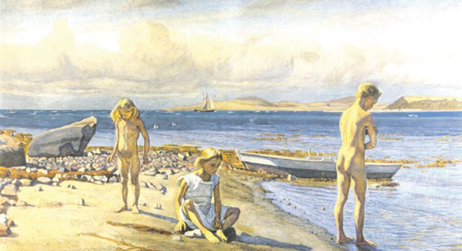 Der er noget universelt over Fritz Sybergs gouache »Børnene på Fyns Hoved« fra 1905, privateje. En fin skildring af det frie liv i nær tilknytning til naturen.
