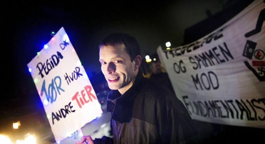 Talsmanden for Pegida, Nicolai Sennels, under bevægelsens demonstration i København i januar.