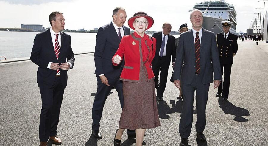 Da dronning Margrethe ringede med skibsklokken på Københavns Nordhavn fredag eftermiddag, markerede det åbningen af den 1.100 meter lange krydstogtkaj, som skal være med til at fastholde og udvikle Danmarks hovedstad som en førende destination for verdens krydstogtturister.