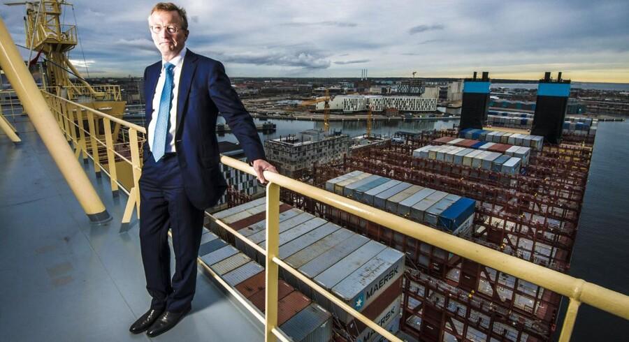 Mærsk-topchef Nils Smedegaard Andersen poserer på megaskibet »Majestic Maersk«.