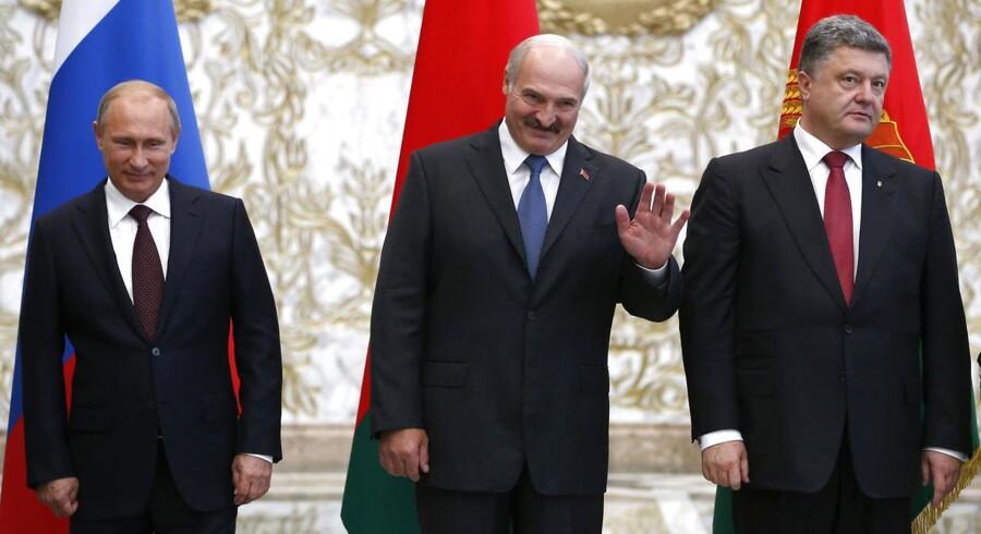 Ruslands præsident Vladimir Putin, Hvideruslands præsident Alexander Lukashenko og Ukraines præsident Petro Poroshenko til det obligatoriske familiefoto i Minsk i forbindelse med et møde tirsdag.