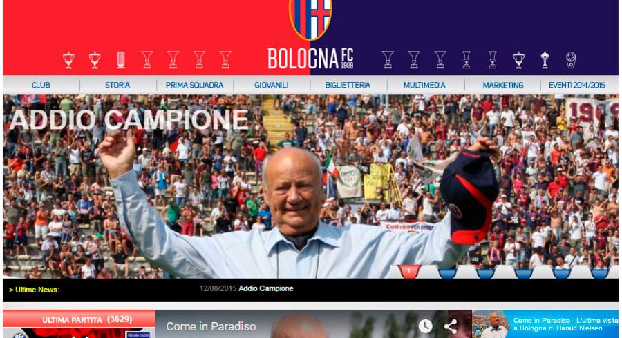 Harald Nielsen bliver hyldet på Bolognas officielle hjemmeside.