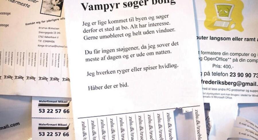 600 boligannoncer fra en vampyr, som søger bolig, hænger i disse dage i de københavnske supermarkeder og på diverse kollegier for at skabe opmærksomhed om Zulu-serien »True Blood«, som netop handler om vampyrer.