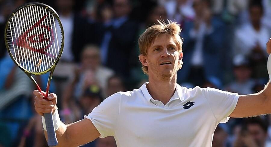 Kevin Anderson vendte 0-2 i sæt til sejr mod Roger Federer. Oli Scarff/Ritzau Scanpix