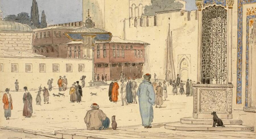 Kun otte år gammel køber Carl Jacobsen denne akvarel af Martinus Rørbye på en auktion. Motivet stammer fra Rørbyes ophold i Konstantinopel - i dag Istanbul - og blev i 1930 deponeret på Statens Museum for Kunst.