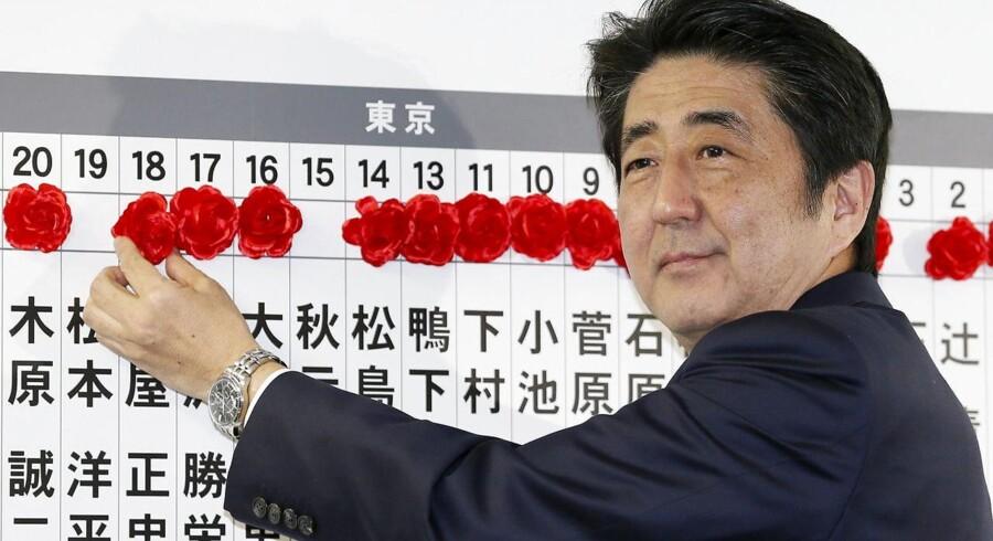 Japans premierminister Shinzo Abe fik en overbevisende valgsejr og kan dermed fortsætte som regeringsleder.