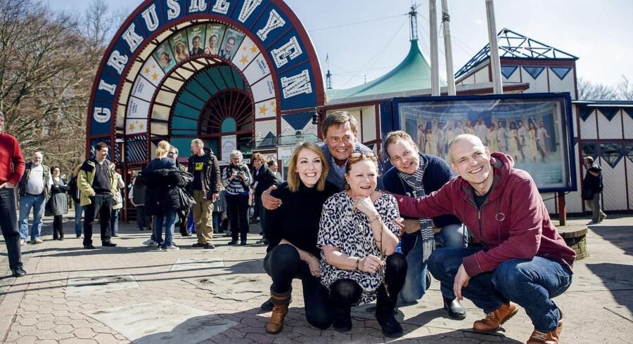 De medvirkende i Cirkusrevyen i 2013-sæsonen: Ditte Hansen, Ulf Pilgaard, Lisbeth Dahl, Andreas Bo og Niels Olsen.