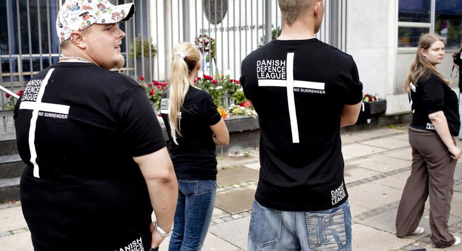 Arkivfoto: Den højreorienterede organisation Danish Defence League har indkaldt til demonstration imod islam i Århus på lørdag sammen med English Defence League og andre europæiske højreorganisationer.