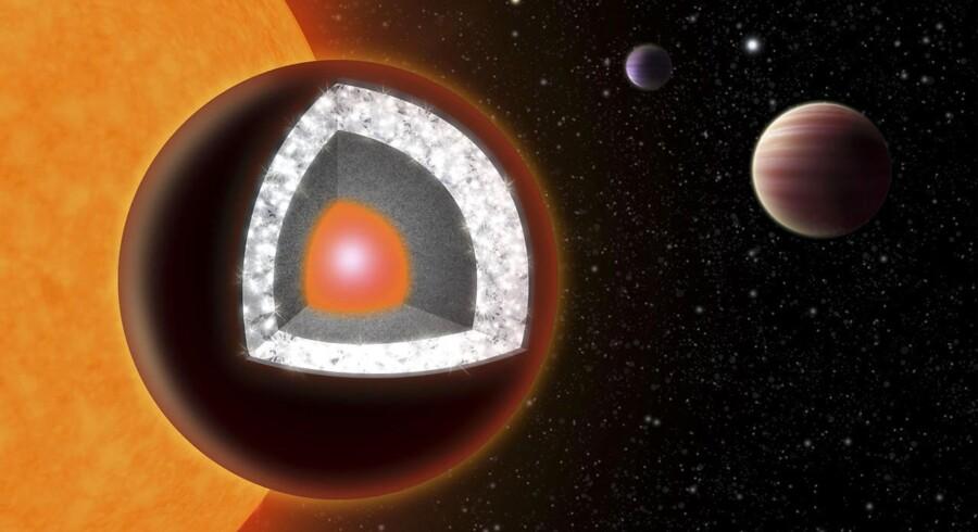 Dette handout fra Reuters viser indersiden af planeten 55 Cancri e - en ekstremt varm planet med en overflade af granit og et tykt lag diamant. Nedenunder den fine overflade ligger der silkonebaserede mineraler og jern.
