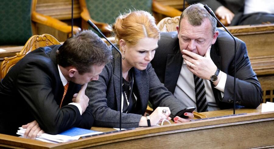 Kristian Jensen, Inger Støjberg og Lars Løkke Rasmussen under tirsdagsspørgetimen i Folketinget 20. maj 2014