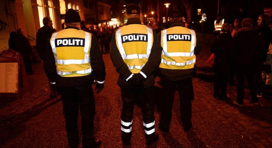 Politiet var på plads i Haderslev mandag.