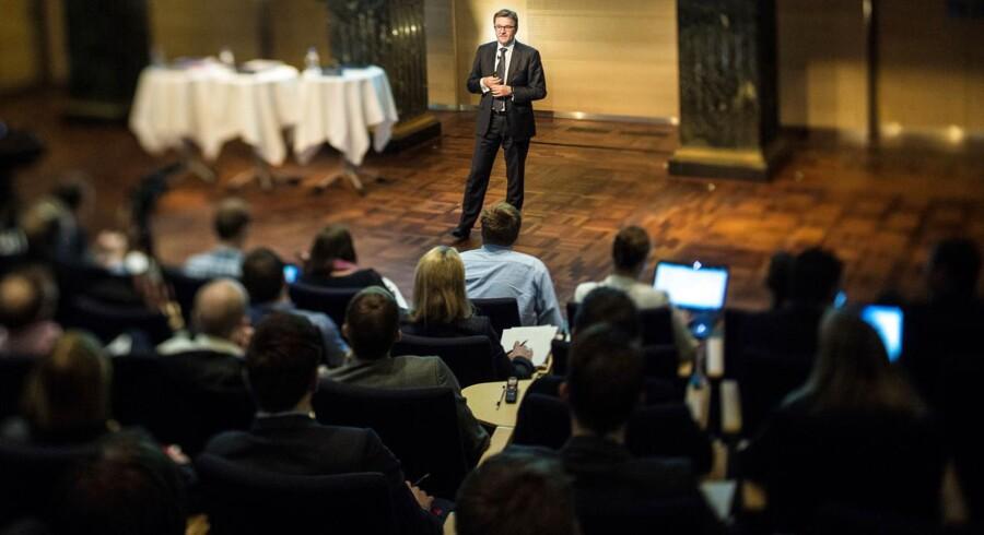 Ordførende direktør Eivind Kolding, Danske Bank fremlægger regnskabet for første halvår. Billedet er fra præsentationen af årsregnskabet for 2012.