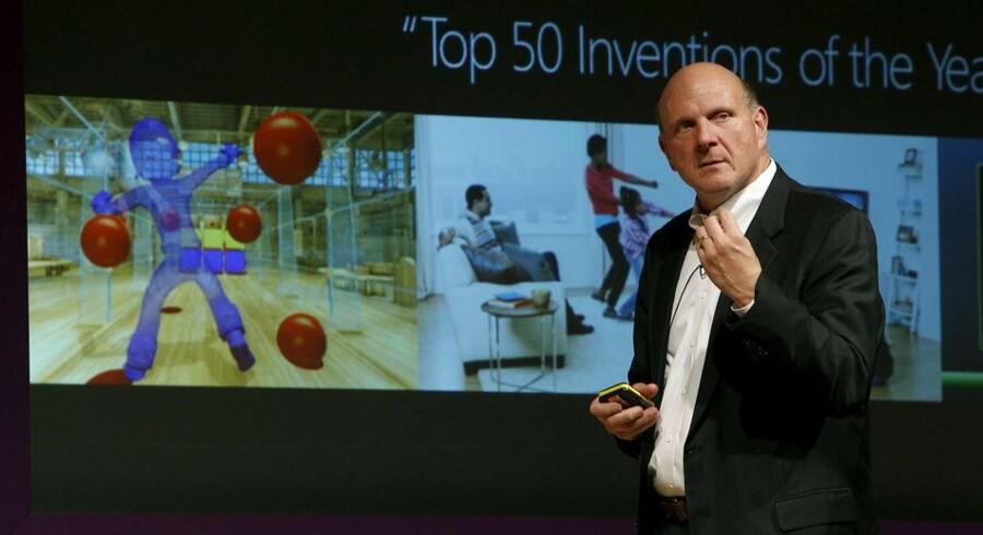 Microsofts topchef, Steve Ballmer, demonstrerer det nye Kinect-system. Foto: Ballaesteros, EPA/Scanpix
