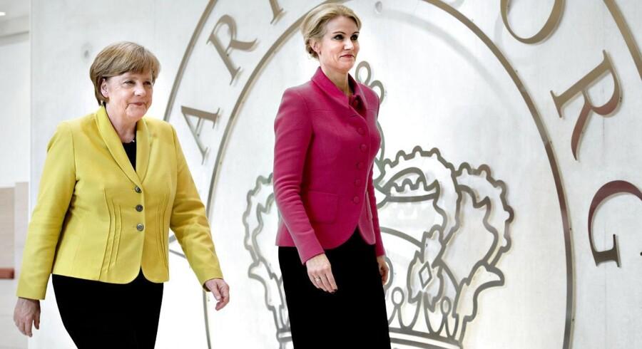 Angela Merkel og statsminister Helle Thorning-Schmidt under pressemødet på Marienborg