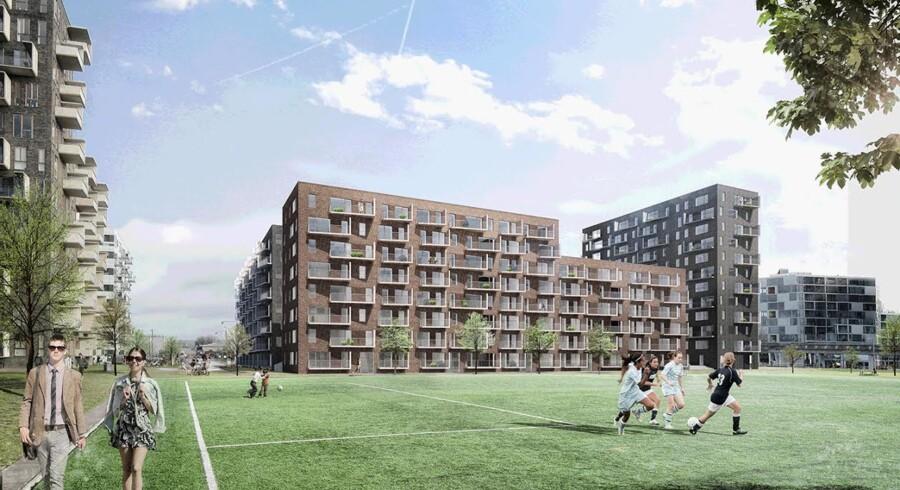 De kommende 300 Skanska-boliger er tegnet af Vilhelm Lauritzen Arkitekter og er fordelt på fire blokke.