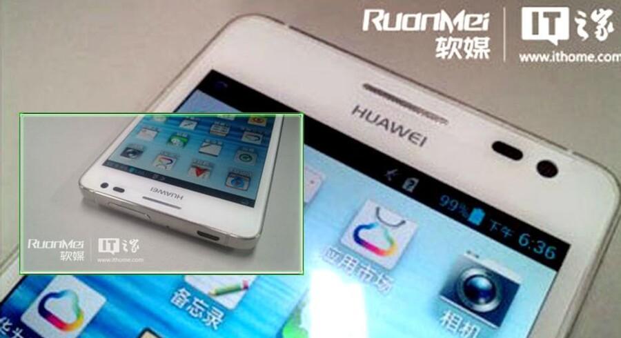 Billeder og specifikationer er dukket op på nettet af Huaweis nye 5-tommer store mobil, der ventes at blive præsenteret på CES-messen i næste uge. Foto: IT Home