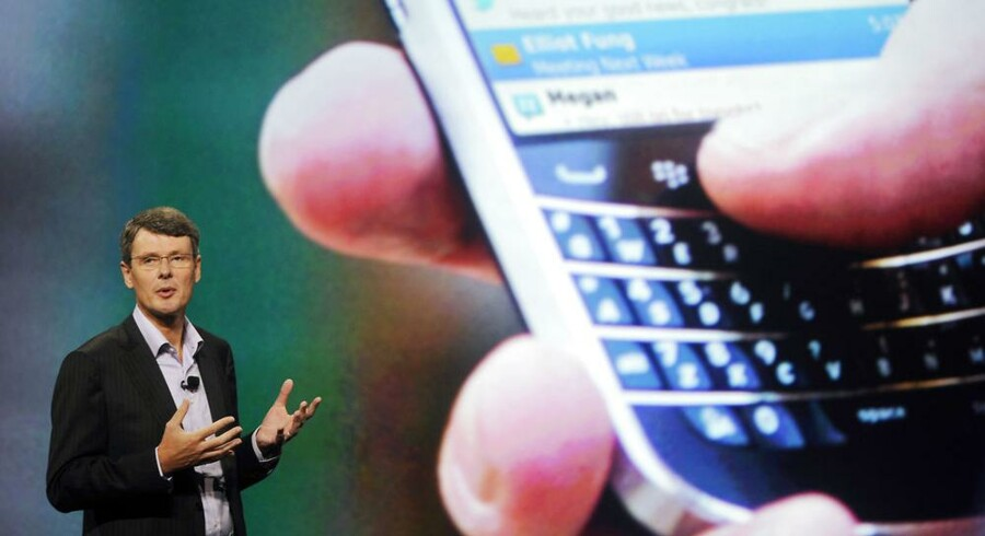 Thorsten Heins, topchef for Research In Motion, skal fyre 30 procent af alle ansatte hos Blackberry-producenten, hvis nye toptelefon bliver forsinket til 2013. Foto: David Manning, Reuters/Scanpix