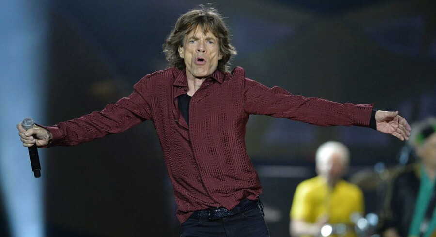 Mick Jagger under en The Rolling Stones koncert i Stockholm d. 1 Juli 2014