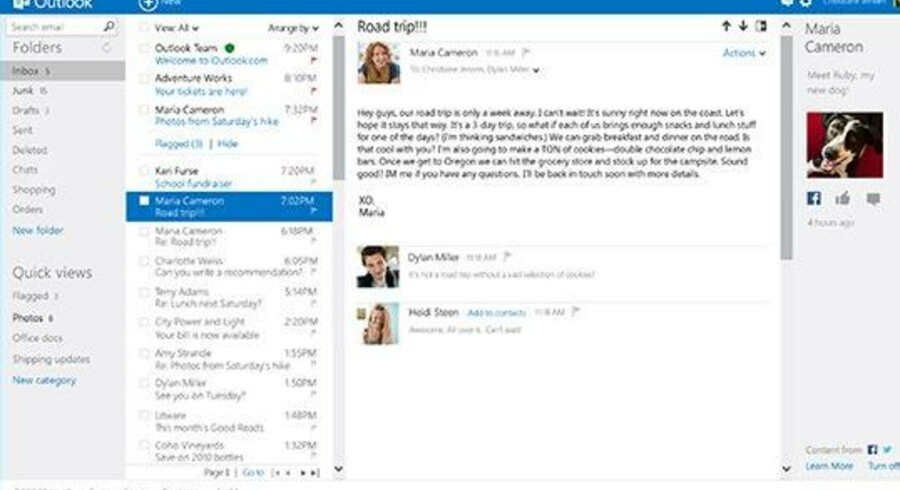 Hotmail bliver nu totalt ændret - og skifter navn til Outlook, som det også ligner. Samtidig føjes sociale netværk ind. Foto: Microsoft