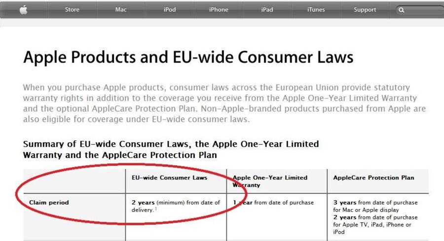 Apple har nu på sin hjemmeside i Irland, som er hovedkontor for Apples aktiviteter i Europa, ændret teksten, så der nu er to års garanti på Apple-produkter overalt i de 27 EU-lande, sådan som EU-lovgivningen foreskriver.