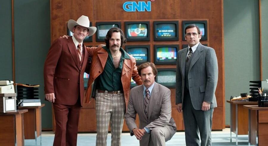 David Koechner, Paul Rudd, Will Ferrell og Steve Carell går atter i luften i »Anchorman – Fortsat flimmer på skærmen«. Foto: UPI