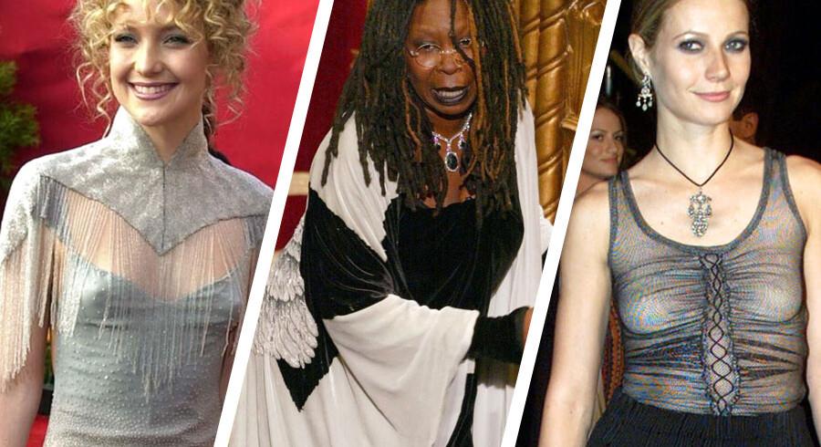 I nat bliver der blitzet på den røde løber, når årets Oscars skal uddeles. Og særligt en ting fanger fotografernes opmærksomhed, når stjernerne ankommer - kjolerne. Og særligt hvis de er lidt kiksede. Og hvis de er helt hæslige, bliver der knipset endnu mere løs. Klik videre og se de grimmeste Oscar-kjoler fra de seneste år.
