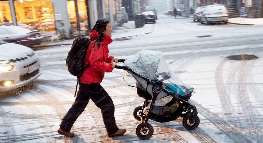 Snevejr i byen Århus, søndag d. 22. november
