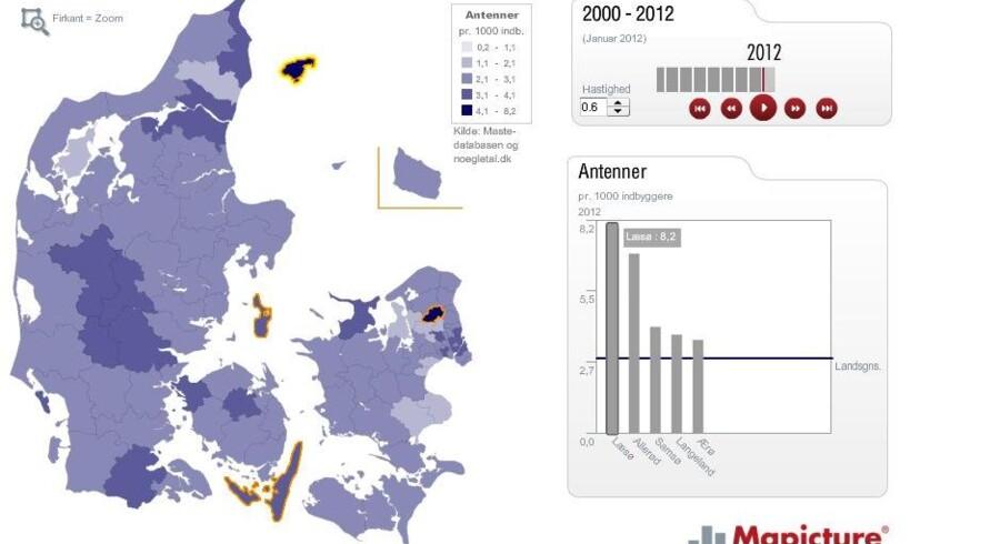 Læsø ligger øverst på top 5-listen over de steder i Danmark, hvor der står flest mobilantenner, viser ny kortlægning.