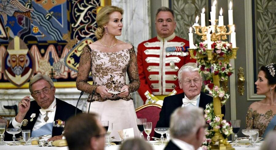 Dronning Margrethe fejres ved en middag for det officielle Danmark på Christiansborg Slot i anledning af 75-årsdagen. Her Statsminister Helle Thorning-Schmidt, der holder tale for dronningen