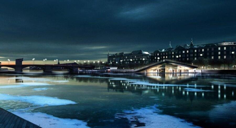 Vinterbadet er tænkt som en naturlig forlængelse af havnebade på Islands Brygge. Havnebadets trædæk forlænges og løftes for at skabe plads til underliggende saunaer og termiske bade med udsigt over havneløbet.