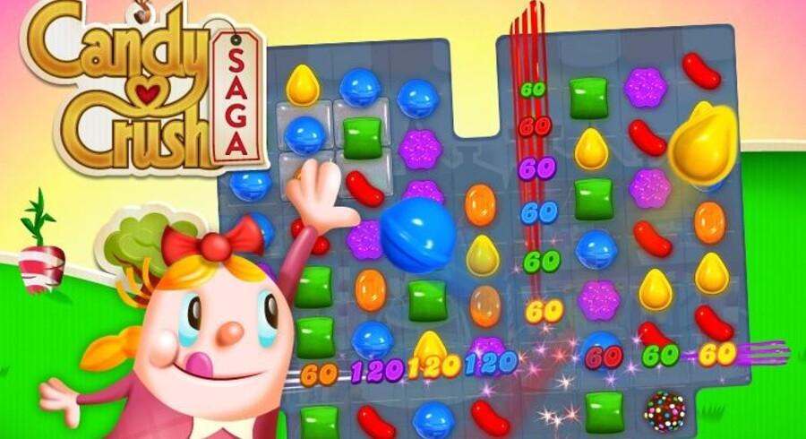 """Producenten af spillet, der handler om at smadre slik """"Candy Crush Saga"""" har lige netop overhalet Farmville-producenten Zynga på antal månedlige brugere via Facebook."""
