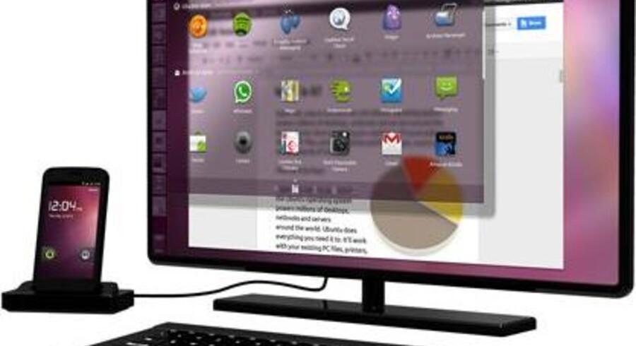 Når mobiltelefonen kobles til en stor computerskærm, får man ikke Android på skærmen men derimod Ubuntu, som er en konkurrent til Windows og MacOS. Foto: Ubuntu