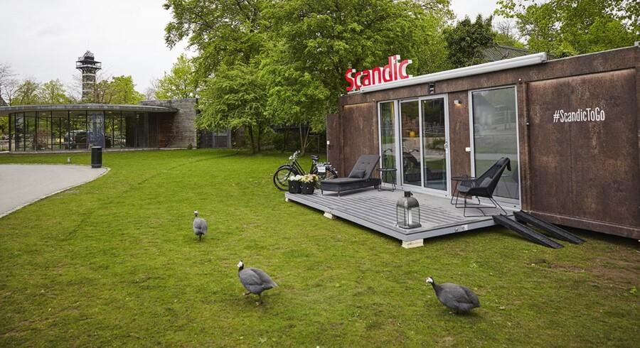 Egen terrasse med solstole samt cykler er ekstra udstyr til det mobile hotel, som lige nu står i København ZOO.