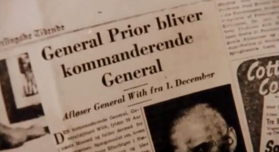 Nyheden i Berlingske Tidende, der tager livet af oberst Hachel i Matador.