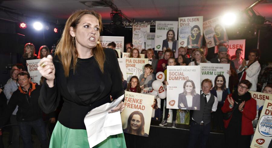 Socialistisk Folkeparti holder valgfest i Kulturhuset på Islands Brygge på valgdagen d. 18. juni 2015. Formand Pia Olsen Dyhr (SF) holder tale.