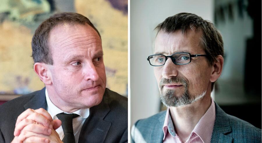 Udenrigsminister Martin Lidegaard er ikke begejstret for den kommende dokumentarfilm »Våbensmuglingen«, om den danske våbennedkaster Niels Holck (th.), der har gallapremiere for særligt inviterede i aften.