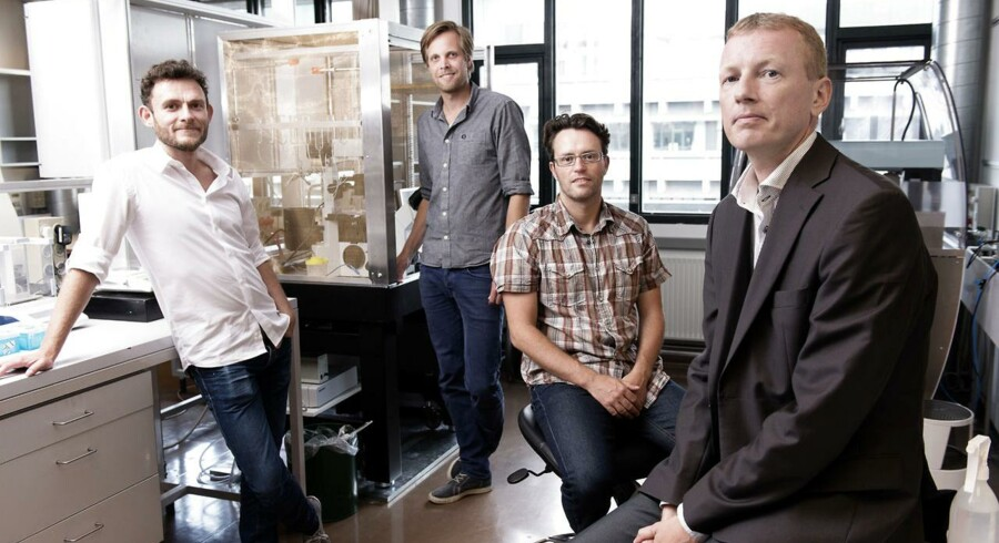 Her ses holdet bag Acesion Pharma. Fra venstre Jonas G. Diness, Bo H. Bentzen, Morten Grunnet og yderst til højre administrerende direktør Ulrik Sørensen.
