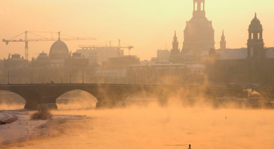 Dis over tilfrosede Elben i Dresden januar 2009.