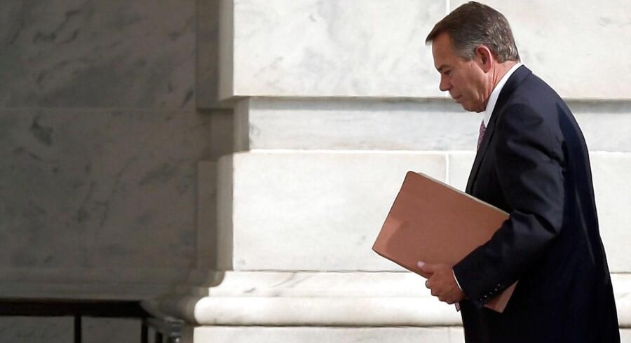 John Boehner, republikanernes leder i Repræsentanternes Hus, har store problemer med at redde sit parti intakt gennem krisen i Washington. Foto: Win McNamee/AFP