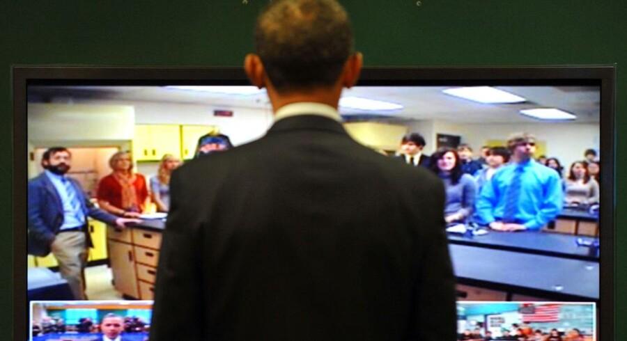Præsident Barack Obama deltager i et fjernkursus på Northern Michigan University, hvor han offentliggjorde sin internetplan. Foto: Tim Sloan, AFP/Scanpix