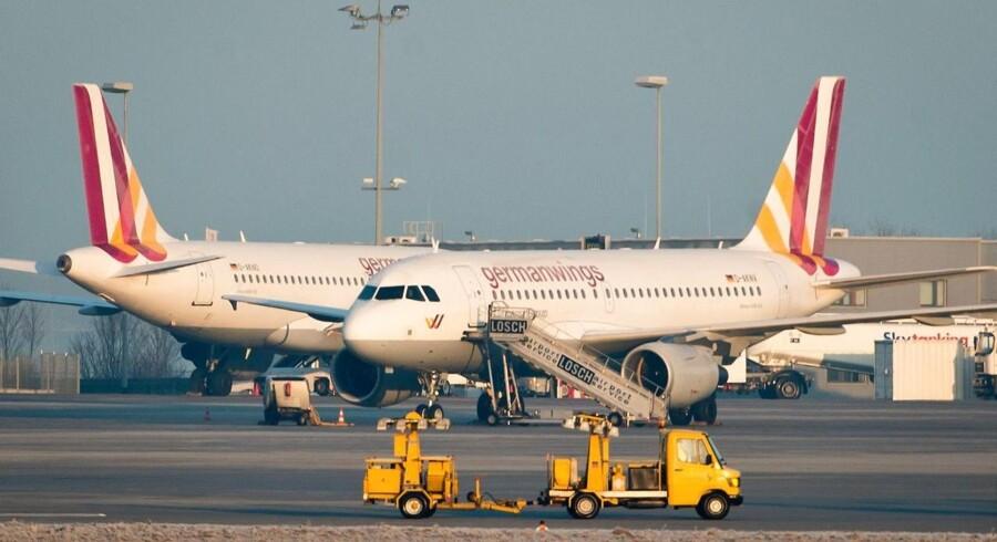 ARKIVFOTO. Fly fra selskabet Germanwings i Stuttgart lufthavn 12. februar.