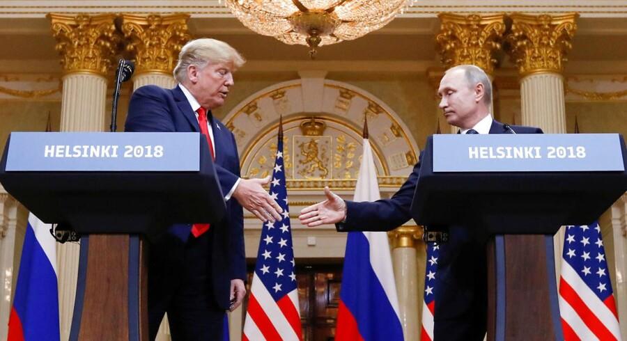 """På mandagens pressemøde i Helsinki, hvor Putin oprindeligt fremlagde sit forslag, lød det ellers fra Trump, at der var tale om et """"utrolig godt tilbud"""". REUTERS/Kevin Lamarque"""