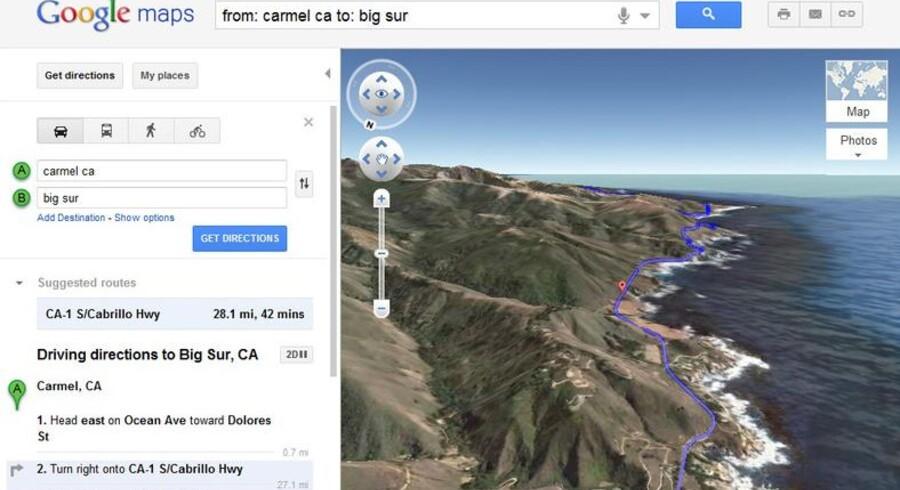 På Google Maps er det nu muligt at få en 3D-demonstration af ens valgte rute.