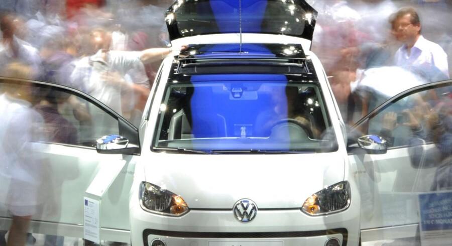 Mikrobiler som Volkswagens UP! har sat gang i det danske bilmarked. Her ses UP! på bilmessen i Frankfurt.