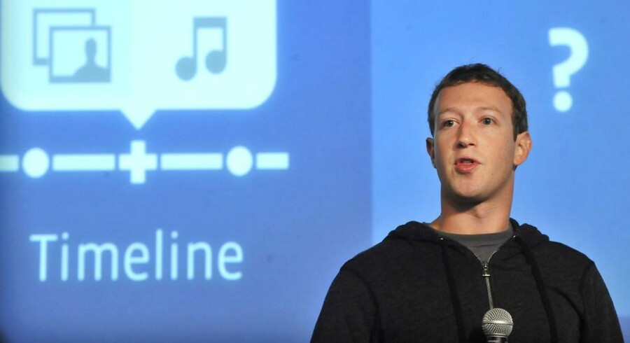 Her ses topchefen Mark Zuckerberg tirsdag, da han præsenterede Facebooks nyeste tiltag.