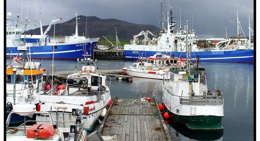 Fiskebåde og trawlere i havnen i Grindavik.