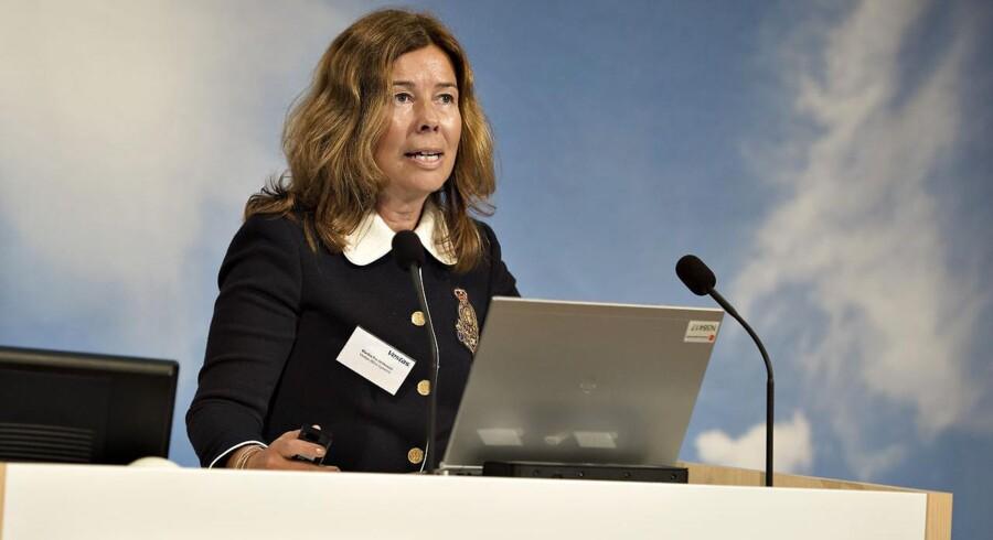 Vestas' koncernøkonomidirektør Marika Frederiksson på talerstolen ved kapitalmarkedsdag hos Vestas Wind Systems hovedkvarter i Aarhus.