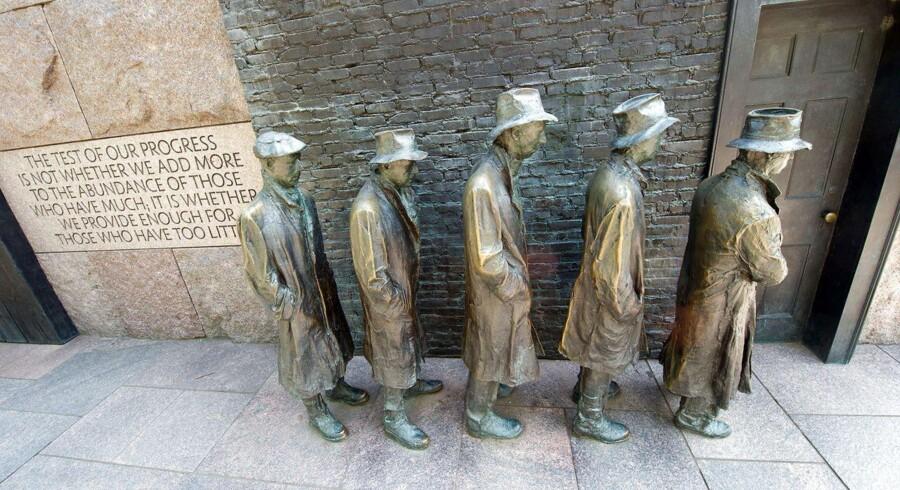 Den amerikanske jobskabelse er på ret kurs. Her ses et monument i Washington DC, der skal afspejler situationen under den store depression i 1930erne.