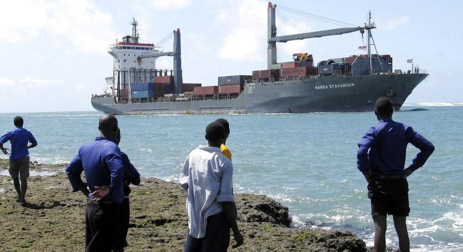 """Det tyske containterskib """"Hansa Stavanger"""" og besætningen blev frigivet efter betaling af en løsesum på 2,7 millioner dollar."""